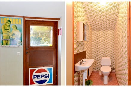 Personalingång och wc i anslutning till f d cafeteria