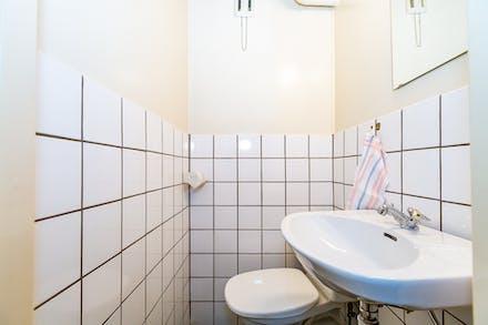 Även på källarplanet finns det toalett