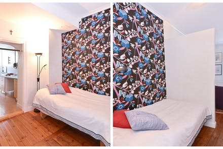 Smart lösning med vägg som skapar en mysig sovalkov