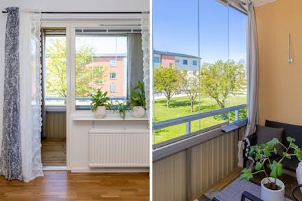 Den inglasade balkongen blir ett extra rum.