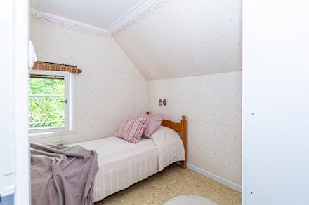 Inbyggda garderober och fönster mot norr.