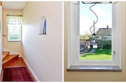 På väg till övre plan och fina 50-talsdetaljer såsom rejäla fönsterbänkar i marmor