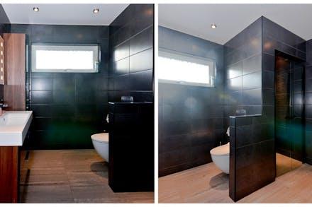 Stora badrummet med dusch och infrabastu.