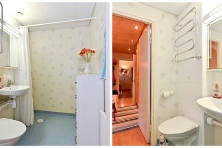 Badrummet nås från hall/entré och har både vägghängd wc och handdukstork