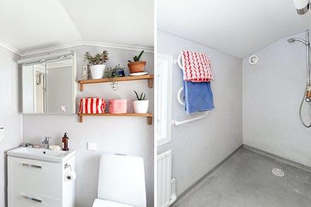 Badrum med våtrumsmatta på vägg och golv