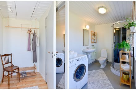 Hall/entré från vilket badrum med wc/dusch och golvvärme nås