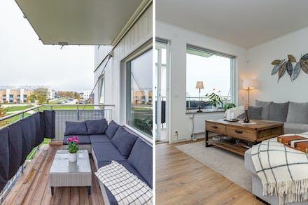 Trädäck på balkongen samt utgång från vardagsrummet