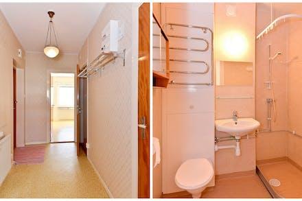 Även badrummet nås från hallen