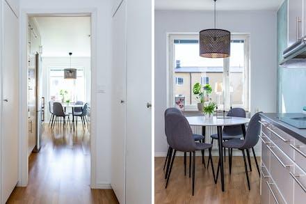 Detaljbild inre hall samt matplats i köket