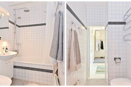 Stambytt badrum med kakel/klinker och badkar