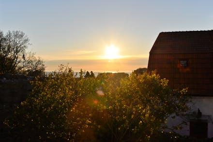 Utsikt från köksfönster i solnedgång