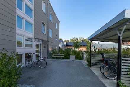 Välordnat med plats för cyklar invid huvudentrén till huset