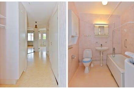 Hall med avhängning, stort badrum direkt till höger