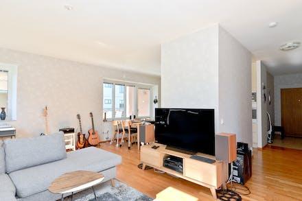 Från soffan har man uppsikt över stor del av lägenheten