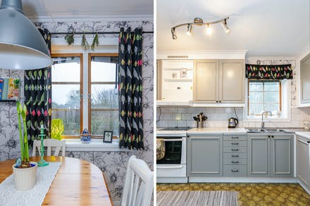Fönster åt två väderstreck ger köket fint ljusinsläpp.