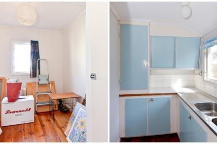 I den äldre gäststugan finns ett sovrum samt ett enklare kök