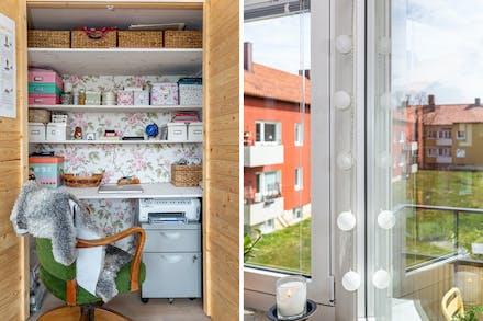 I vardagsrummet finns en smart lösning med arbetsplats som kan döljas