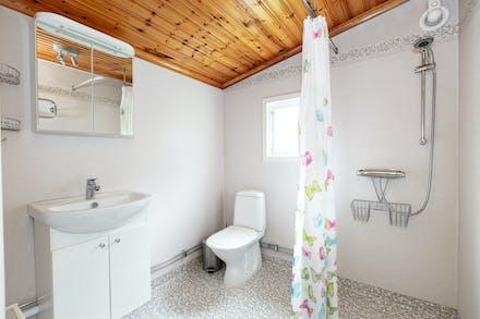 Badrum med wc, tvättställ och duschplats